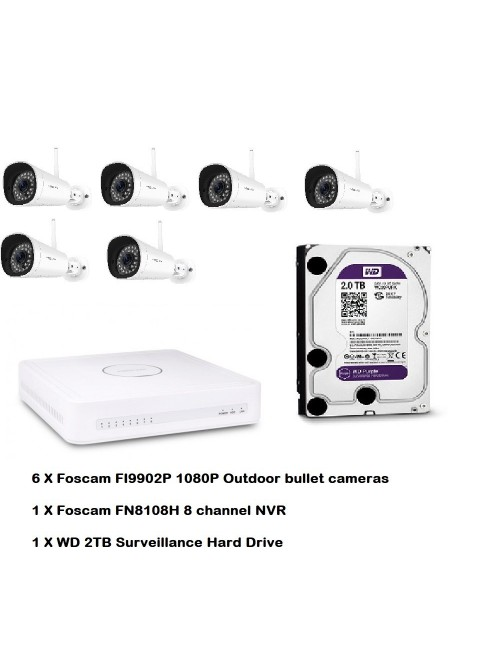 Foscam Wi-Fi 6 Camera plus NVR and 2TB HD Value Bundle
